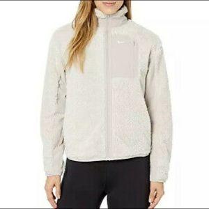 Nike Sherpa Full Zip Cream Tan Teddy Jacket